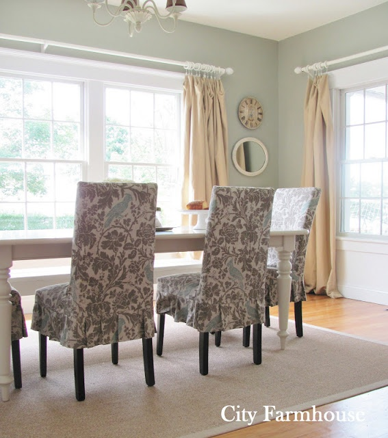 Dining room table w slip covered chairs not exact for Dining room fabric ideas
