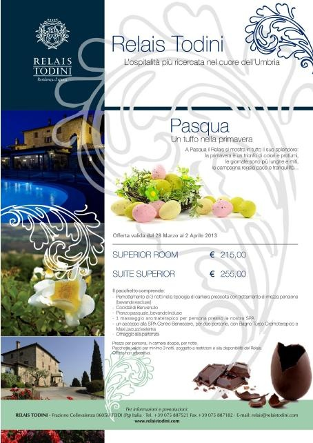 Book your Easter getaway in Umbria: 3 nights stay in Superior room or Suite, half board, welcome drink, Typical Umbrian Easter lunch at the Restaurant (drinks included), entrance to the Spa with free use of Jacuzzi eTurkish Bath, one Massage per person and goodbye gift!
