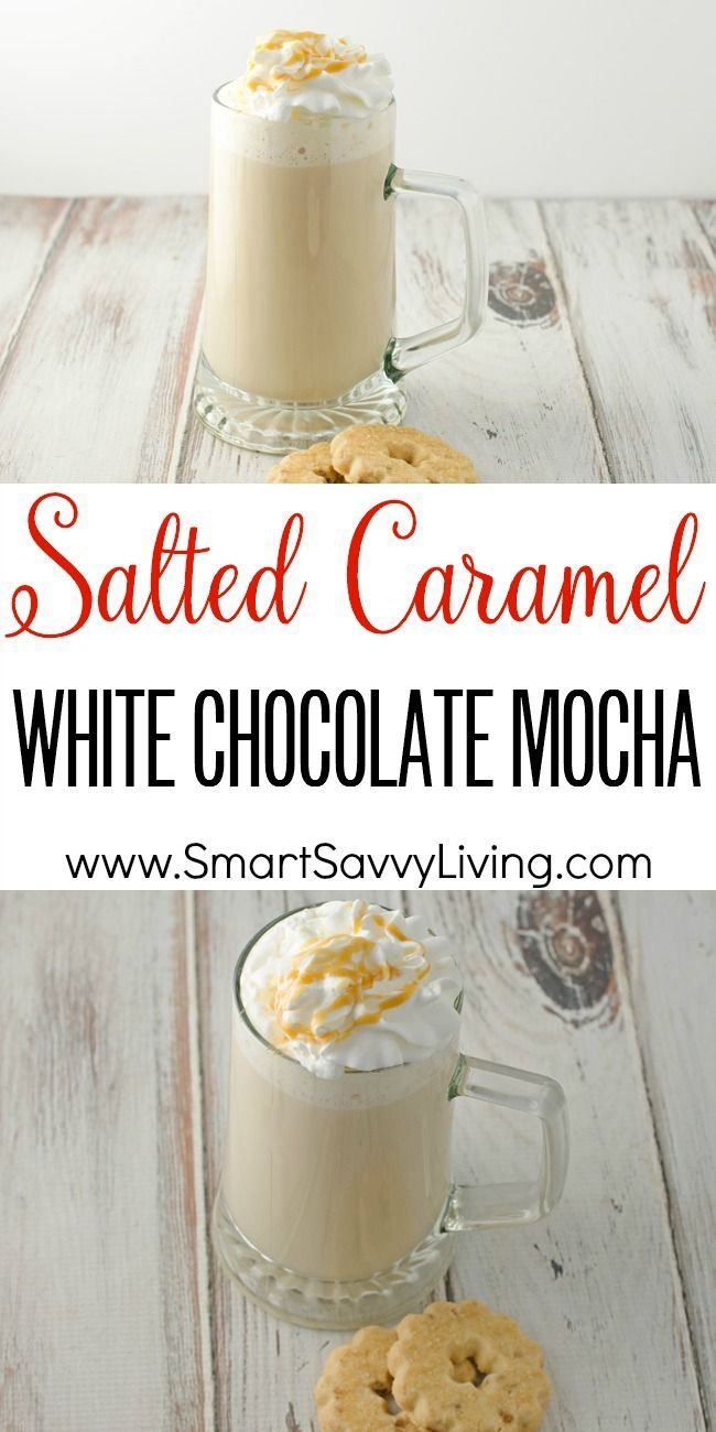 Salted Caramel White Chocolate Mocha Recipe | This homemade coffee recipe is so rich and creamy to warm up with during the winter!