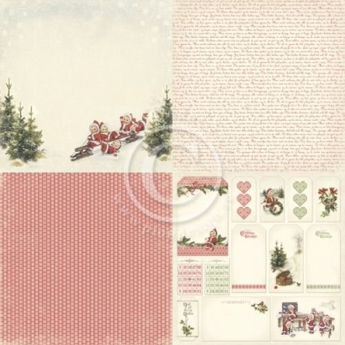 """PION DESIGN - CHRISTMAS IN NORWAY PD6501 6X6 - CLEAR THE WAY TOSIDIG MØNSTERARK i serien """"CHRISTMAS IN NORWAY6X6"""" en kolleksjon fra PION DESIGN. Motivetmåler ca 15,2cm x 15,2cm.Christmas in Norway - a collection in a Christmas theme - Double sided papers - Paper size 6""""x6""""."""