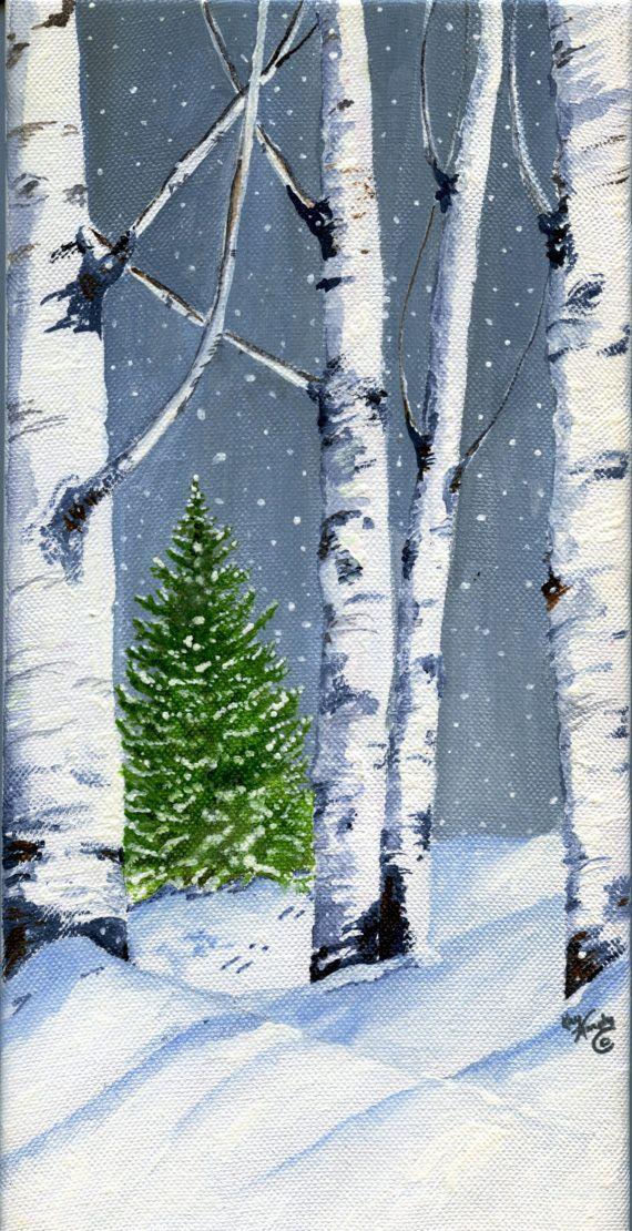 Aspen Trees and Evergreen 5 x 10 inch acrylic by KayMurphysStudio, $125.00