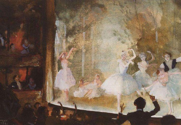 """Η προώθηση του ρωσικού μπαλέτου στο εξωτερικό έγινε σε μεγάλο βαθμό από τον Σεργκέι Ντιαγκίλεφ, τον θεατράνθρωπο και που διέδωσε τη ρωσική κουλτούρα, απασχολώντας ένα τεράστιο αριθμό καλλιτεχνών από τη Ρωσία για τα σκηνικά και τον διάκοσμο του έργου """"Ρώσικα Μπαλέτα"""" που ανέβασε το 1909 στο Παρίσι, το Λονδίνο, και τη Ρώμη / Ρωσικό μπαλέτο. Champs-Elysees. Συλφίδες. Κονσταντίν Σόμοφ."""