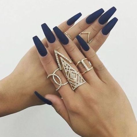 acrylic nail designs 2020 ⋆ fashiong4  navy blue nails