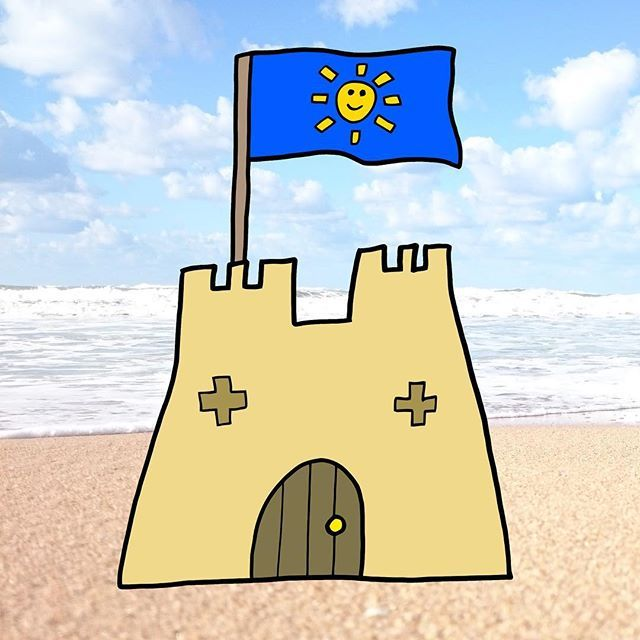 The Holiday Starts Here Art Beach Holiday Sand Castle Flag Sun Summer Instagram Holiday Castle