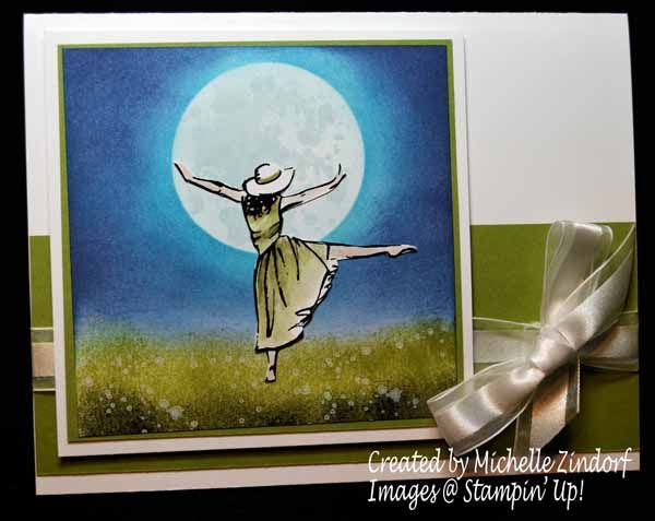 Dance By The Light of the Moon – Stampin' Up! Card created by Michelle Zindorf - Beautiful You Stamp Set