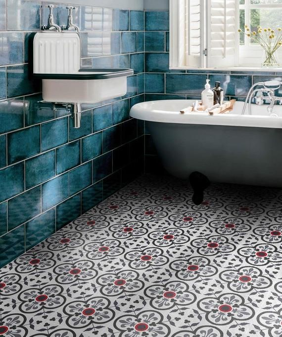 Navy Blue Decorative Provence Tiles Floor Vinyl Sticker Etsy Black And White Tiles Bathroom Black And White Bathroom Floor Black Bathroom