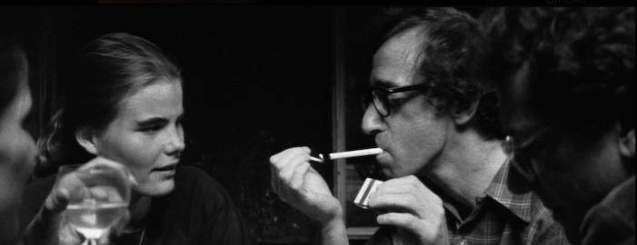 Woody Allen smoking a cigarette (or weed)