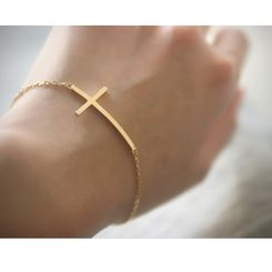 Gold Sideways Cross Bracelet Sterling Silver