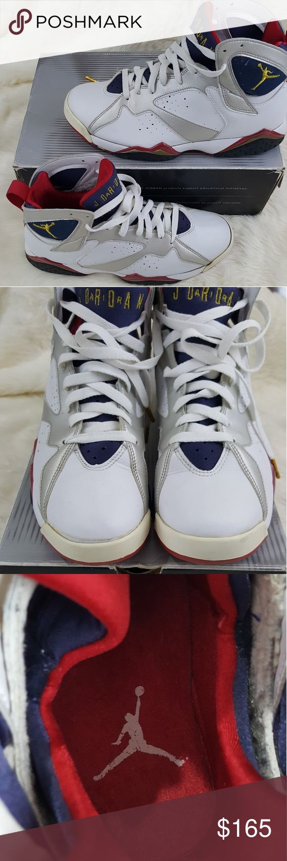 Jordan retro olympic 7 Jordan Olympic 7 in pre owned condition,  the soles will need to be re glued due to old age the shoes are from 2004 and come with the original box. There is some yellowing due to age and creases from normal wear but overall in decent shape Jordan Shoes Sneakers