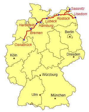 Karte Jakobsweg Via Baltica
