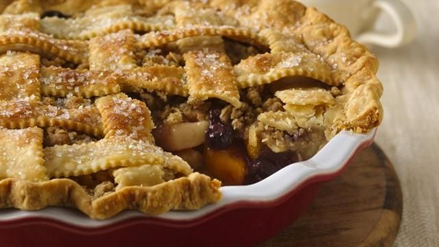 Apples, peaches and blueberries are featured in this fresh-tasting pie that won high honors at the Allentown Fair in Pennsylvania.