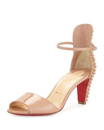 CHRISTIAN LOUBOUTIN Trezanita Spiked-Heel Red Sole Sandal, Nude ...