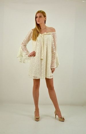 Φόρεμα κοντό, άλφα γραμμή, μανίκι τρουακ