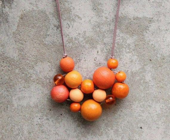 Orange bib necklace, bubble, bead necklace,statement, contemporary, tangerine, funky, woven bead necklace, fashion.