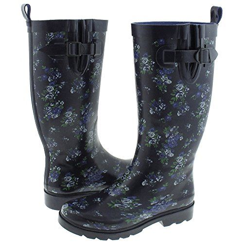 Capelli New York Garden Floral Ladies Tall Rubber Rain Boots Navy Combo 8 *** Continue to the product at the image link.