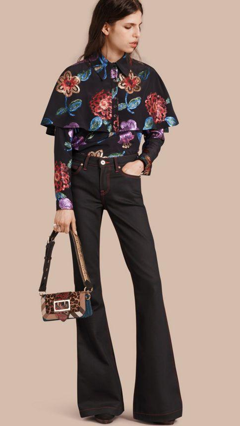 Navy Floral Fil Coupé Silk Blend Caped Shirt - Image 1