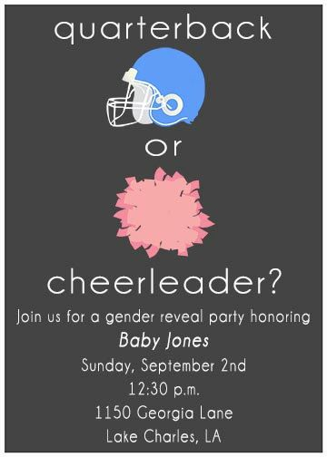 PRINTABLE Quarterback or Cheerleader Gender Reveal Invitation - Perfect for showers or parties during the football season!   GREAT PICK BRITTANY!!!!