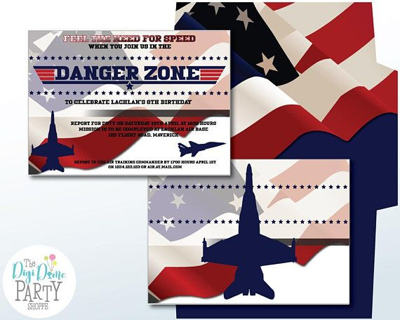 Aviator Party Printable Invitation 5x7in. Instant Download