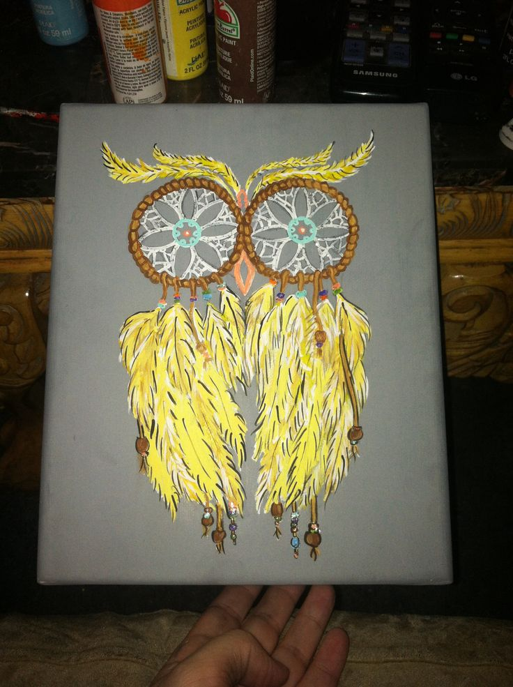 Dream catchers:owl canvas painting ! -Fallon Larmon