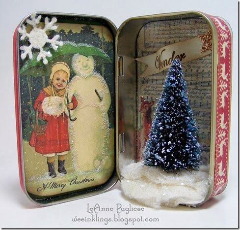 LeAnne Pugliese WeeInklings Vintage Christmas Altoids Tin--- using old Christmas cards