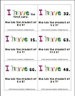 """I like that the math term """"product"""" is used here to help re-enforce vocabulary. I need one with division. Prior pinner: FREE Multiplication Facts Review Activity (I have/Who has game)"""