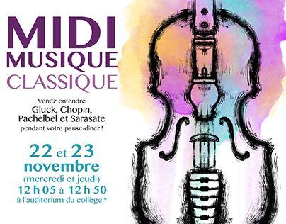 """Check out new work on my @Behance portfolio: """"Affiche publicitaire - Midi musique classique"""" http://be.net/gallery/60620145/Affiche-publicitaire-Midi-musique-classique"""