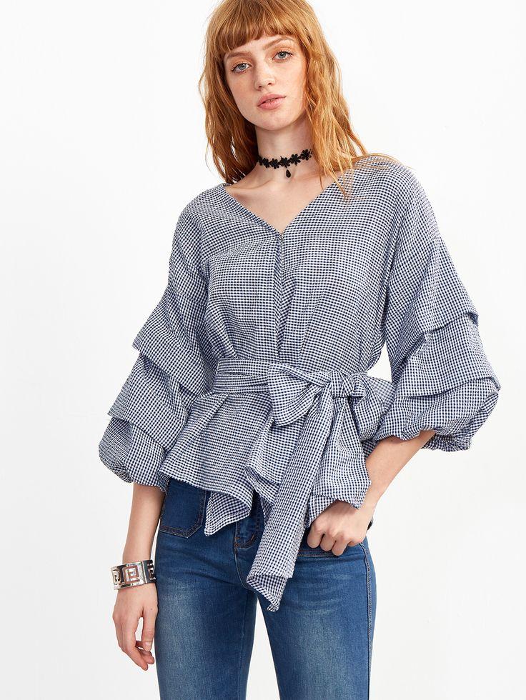 Blusa a cuadros con manga farol y lazo en la cintura - azul -Spanish…