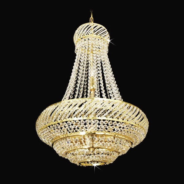 Pear shaped chandelier with beautiful bohemian crystal glass trimmings; Diameter 17″; Height 24″; Weight 2.4lb;   Wattage 8 x 40W  #chandeliers