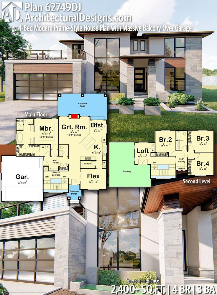 Plan 62749dj 4 Bed Modern Prairie Style House Plan With