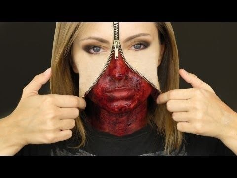 Unzipped Zipper Face Makeup!!!! So excited for this Halloween. Sooo going to do this! So cool and creative. LOVVVEEE ittttt. Gotta start looking for zippers!