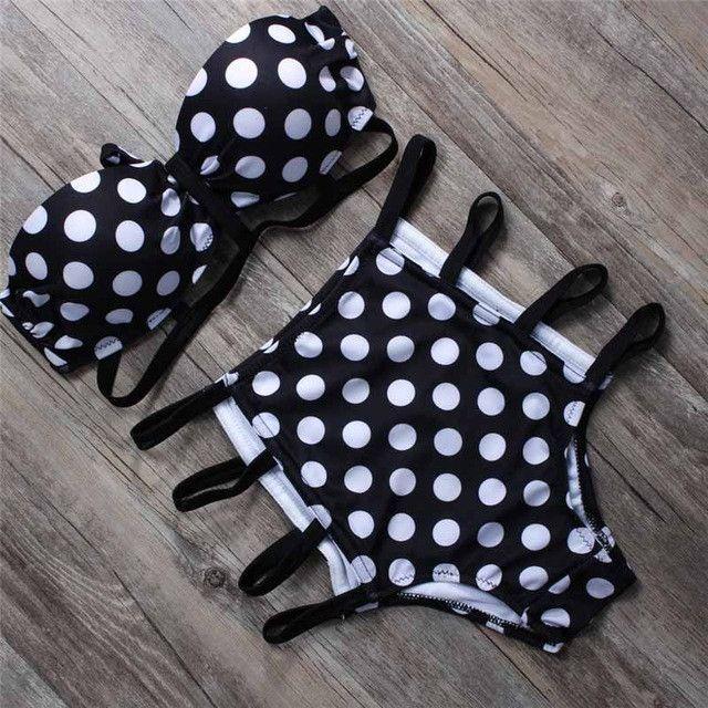 Black Dot High Waist Cut Out Bikini Sets Push Up Sexy Swimsuit Vintage Retro Halter Bathing Suit