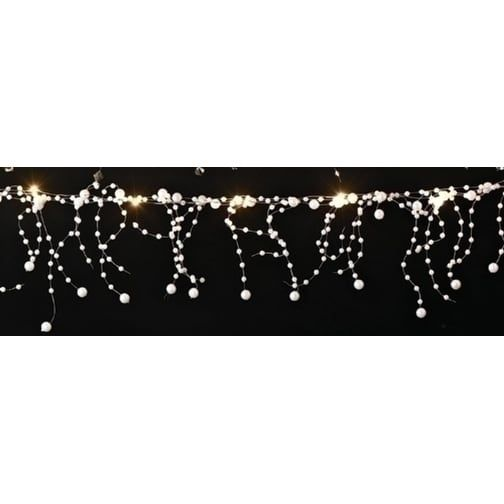Roman 6' Battery Operated LED Lighted White Faux Pearl Beaded Christmas Garland - Gold Wire