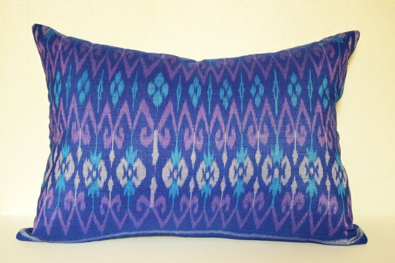 13 x 20 inches Purple Blue Ikat Cushion Cover Pillow by IkatPikat