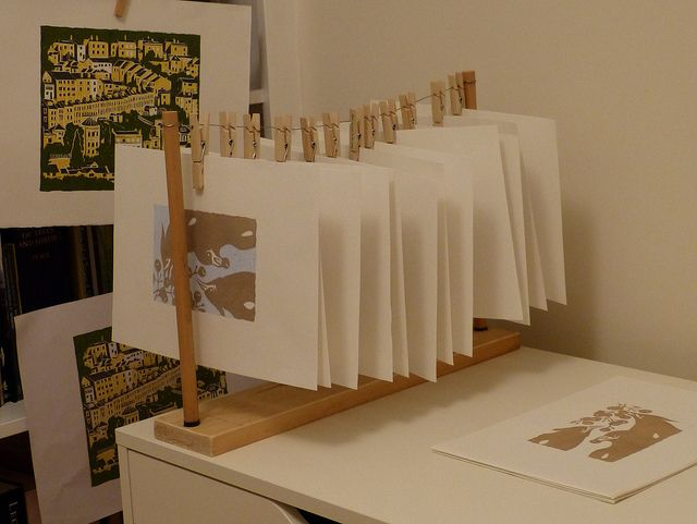 'Print Drying Rack' | Flickr - Photo Sharing  Perfect for at home printmaking studio.