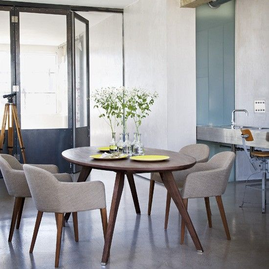 Modern dining room- love the retro chairs
