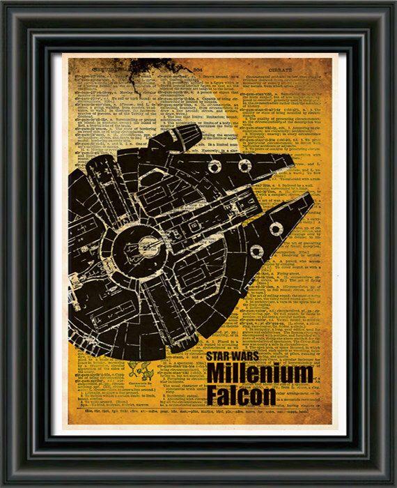 Star wars art print - Millennium Falcon - vintage star wars art - dictionary print by Loft817 on Etsy https://www.etsy.com/listing/188874389/star-wars-art-print-millennium-falcon
