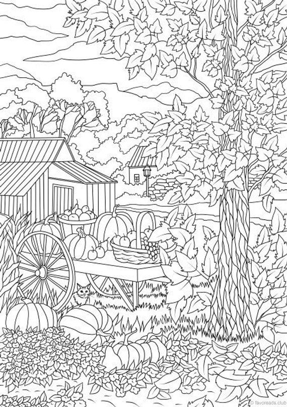 Kleurplaten Kerst For 6 Autumn Harvest Printable Adult Coloring Page From