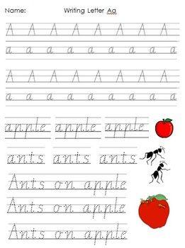 WRITING PRACTICE - AUSTRALIAN STANDARD - TeachersPayTeachers.com