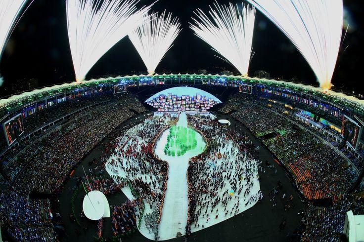 Rio opening ceremony fireworks maracana