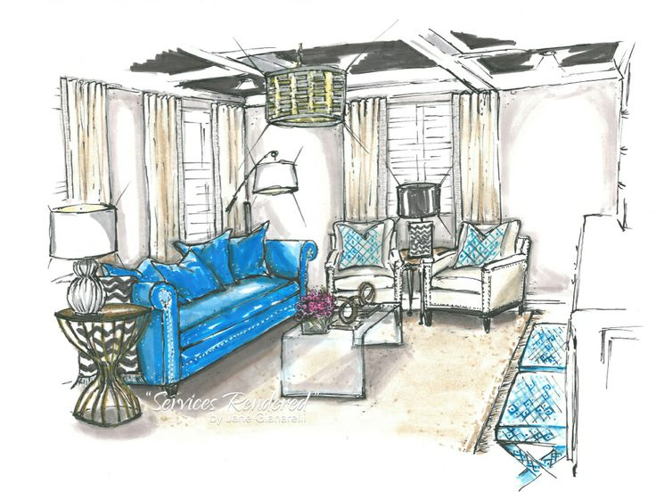 Family Room Rendering For Erika Bonnell Interiors By Jane Gianarelli