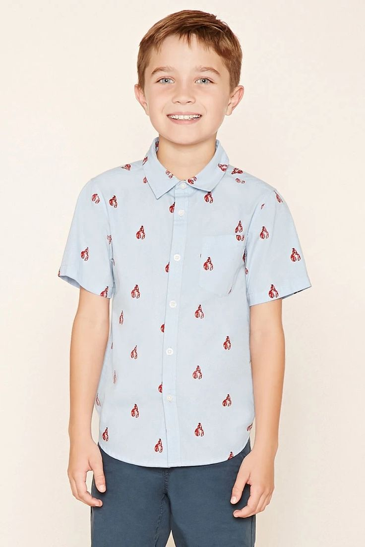 Forever 21 Boys - A woven shirt featuring a lobster print, basic collar,  short