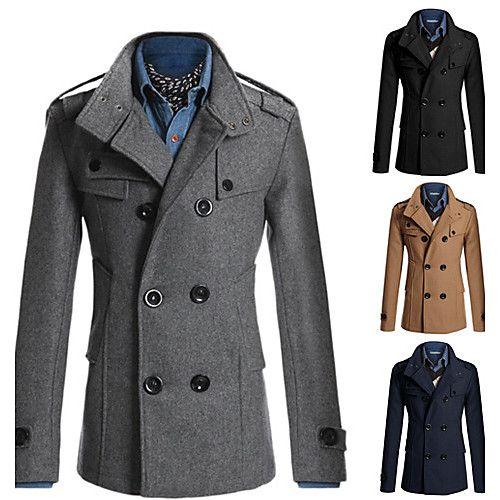 Dual Color Long Sleeve Men Jacket Casual Winter Men Coats Male Outwear Blue /& White M