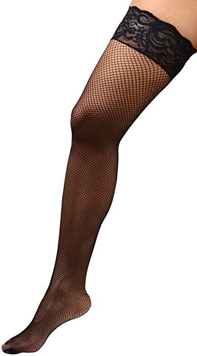 a3f3c315fdf Amazon.com  Womens Plus Size Hosiery Black Fishnet Lace Top Stay Up  Silicone Thigh High Stockings 3x 4x 22 24  Clothing