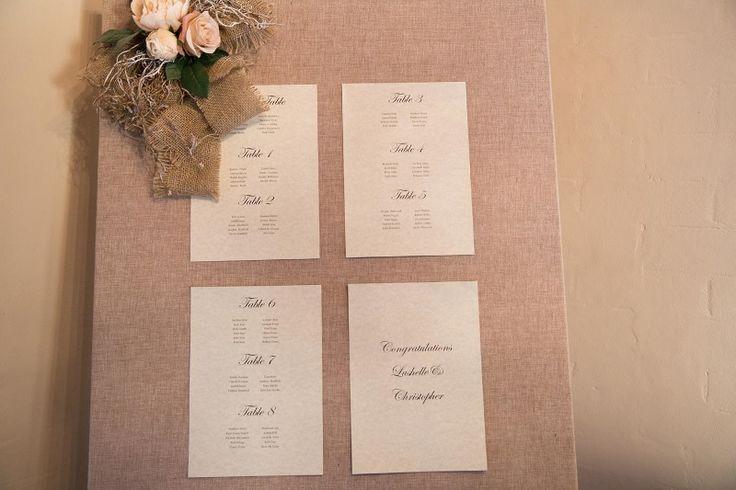 Chateau Dore Burlap Seating Display Board @ Chateau Dore Winery