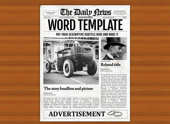 Old Style Word Newspaper Template by Newspaper Templates on @creativemarket