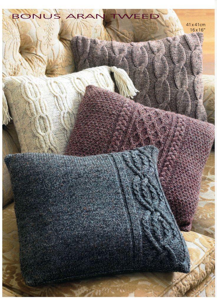 Vintage Aran cushion cover set knitting pattern by knitcheap