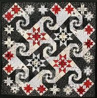 This quilt combines the traditional blocks Rising Star and Snail's Trail  Black, White and Barely Re(a)d