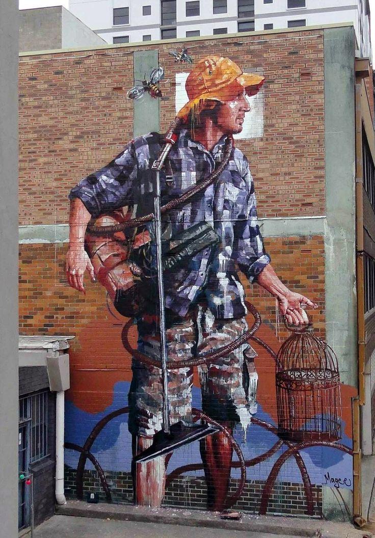 "Fintan Magee paints ""Domestic Bliss"", his new mural in #Sydney, Australia. capa.org/sydney #streetart"
