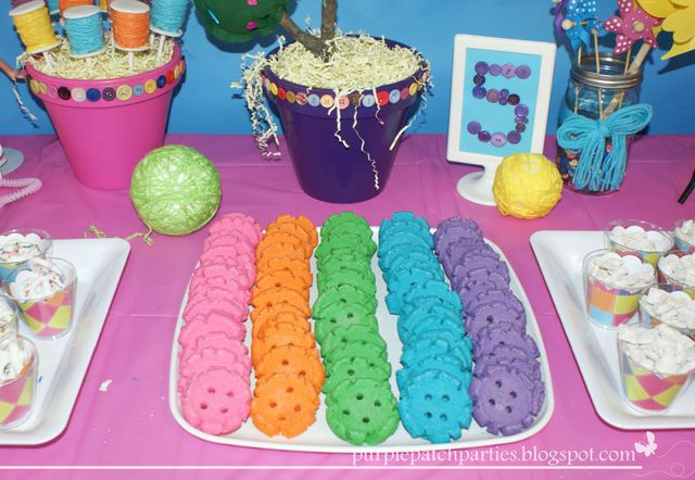 Colored button cookies at a Lalaloopsy Party #lalaloopsy #partycookies