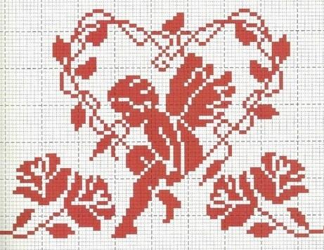 .cross stitch angel monochrome